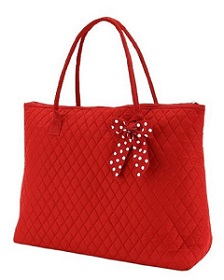Belvah Extra Large Quilted Solid Pattern Red Tote Handbag for Women.